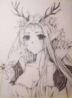 Queen of Deer Elf 2 Anime Chibi, Kawaii Anime, Anime Art, Anime Girl Cute, Anime Love, Anime Girls, Kawaii Drawings, Cute Drawings, Pen Drawings