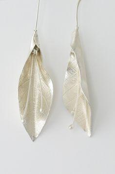 Leaf embossed silver earrings