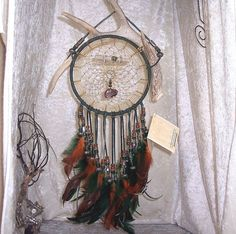 FANCY BUFFALO - OOAK Deer Antler Dreamcatcher in Dark Green and Amber by Feathered Dreams