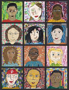 Self Portraits with paint chips grade-3-4