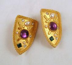 Park Lane Shield Clip Earrings Rhinestone Faux Pearl