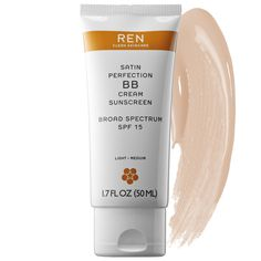 REN Satin Perfection BB Cream Sunscreen ( Size oz) A silicone-free BB cream that leaves skin looking flawless, even toned, and luminous with a perfect, non- Bb Cream Foundation, Ren Clean Skincare, Broad Spectrum Sunscreen, Cc Cream, Cruelty Free Makeup, Even Skin Tone, My Beauty, Bath And Body, Sephora