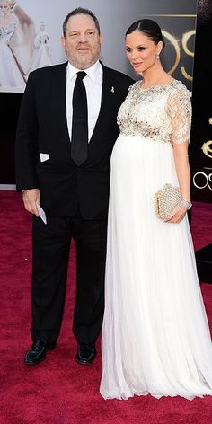 Who looks this amazing pregnant? #PowerCouple Harvey Weinstein and Marchesa designer Geogina Chapman at the #Oscars. #RepinToWin
