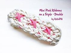 Picture only - Mini Pink Ribbons on a Triple-Double Rainbow Loom bracelet Rainbow Loom Tutorials, Rainbow Loom Patterns, Rainbow Loom Creations, Rainbow Loom Bands, Rainbow Loom Charms, Crazy Loom Bracelets, Loom Band Bracelets, Rubber Band Bracelet, Rainbow Loom Bracelets
