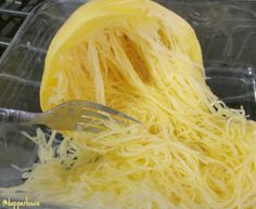 After squash has microwaved for 5 minutes or more (outside is soft to the touch) let cool enough to scrape the insides into spaghetti #recipe @dapperhouse