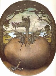 """Illustrations by Wayne Anderson, from the book """"The Flight of Dragons"""" written by Peter Dickinson, published in Estórias da Carochinha Dragons Den, Cute Dragons, Fantasy Creatures, Mythical Creatures, Wayne Anderson, Pet Dragon, Dragon Lady, Mythology Books, Baumgarten"""