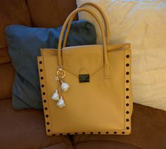 Loeffler Randall Work Tote in Beige with White Leather Rose Floral Keychain Handbag Accessory - Bynmix