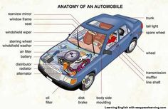 Learning the vocabulary for parts of a car inside and outside: