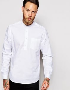 ASOS Shirt In Over Head Styling With Grandad Collar