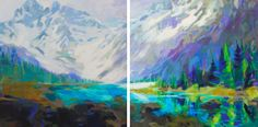 Twins, acrylic landscape painting of Mount Assiniboine by Becky Holuk | Effusion Art Gallery + Cast Glass Studio, Invermere BC Mountain Paintings, Nature Paintings, Landscape Paintings, River Painting, Boat Painting, Lake Art, Cast Glass, Spring Landscape, Canadian Artists