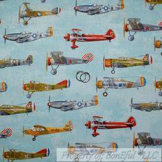 BonEful-Fabric-FQ-Cotton-Quilt-Blue-World-War-2-USA-VTG-Navy-Military-Air-Plane