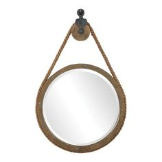 Global Direct L x W Round Aged Natural Wood Finish Framed Wall Mirror at Lowe's. This rustic mirror design features an aged natural wood finish with exposed nail head accents and thick rope detailing that surrounds the mirror's frame. Rope Mirror, Round Wall Mirror, Beveled Mirror, Round Mirrors, Round Mirror With Rope, Mirror Glass, Wall Mirrors, Beveled Glass, Industrial Mirrors