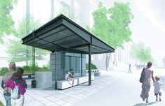 Serving as the primary bus stop for a university in Cambridge, MA, this bus stop… Stair Detail, Roof Detail, Urban Furniture, Street Furniture, Chinese Architecture, Architecture Details, Bus Shelters, Car Shelter, Bus Stop Design