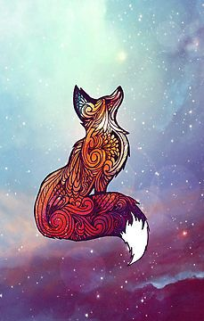 Space Fox by nellmeowmeow //like the fox design but a lion? With the sky as water color??