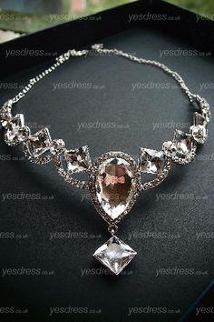 Crystal Austrain Drilling Wedding Necklace/Headpiece With Diamond Predant Forehead