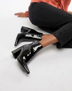 d548687023b Public Desire Empire black patent block heeled ankle boots