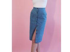 Tutoriel DIY: Coudre une jupe crayon en jean boutonnée sur DaWanda.com