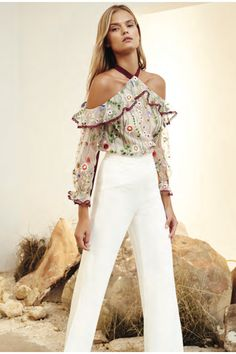 My spring obsession. Kylie Embroidered Cold Shoulder Top by ALEXIS for Preorder on Moda Operandi Fashion 2017, Look Fashion, Latest Fashion Trends, Fashion Outfits, Womens Fashion, Trending Fashion, New Mode, Elegant Outfit, Looks Style