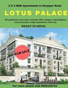 Lotus Palace is located just in one of the most populated & happening places in Bangalore viz: Sarjapur Road. Flats For Sale, Buckingham Palace, Apartments, Lotus, Shit Happens, Places, Life, Lotus Flower, Lily