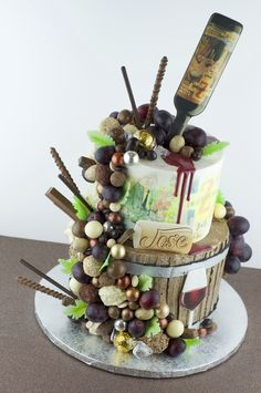 Wine Theme Cakes, Themed Cakes, Wine And Paint Night, Bottle Cake, Italian Party, 35th Birthday, Wine Parties, Diy Clay, Chocolate