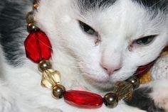 Chunky, elegant, valentine necklace, Gem cut acrylic beads, brass beads, ruby red beads, golden beads, jewelry cat