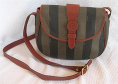 Vintage Fendi Striped Coated Canvas Cross Body Purse from The Strathmore Store on ebay