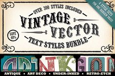 Vintage Vector Text Styles Bundle by The Artifex Forge on @creativemarket