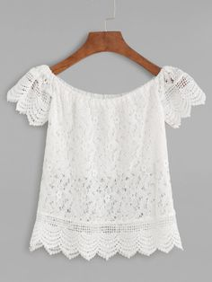 Shop Boat Neck Crochet Lace Scalloped Hollow Out Blouse online. SheIn offers Boat Neck Crochet Lace Scalloped Hollow Out Blouse & more to fit your fashionable needs. Boat Neck Tops, Top Boat, Fashion Dresses, Fashion Clothes, Trending Fashion, India Fashion, Fashion Fashion, Blouse Online, Off Shoulder Tops