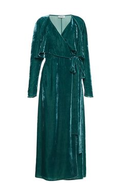 This **Attico** dress is rendered in velvet and features a wrap design with a maxi length hem.