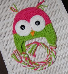 Pink and Green Owl Hat