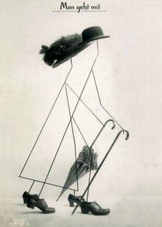 hannah höch - man geht mit (1916)