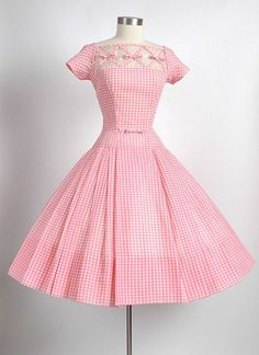 1950's Pink White Gingham Dress ~ Gorgeous!