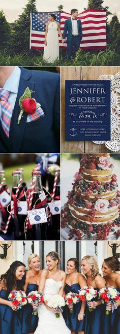 romantic July 4th wedding ideas with elegant wedding invitations