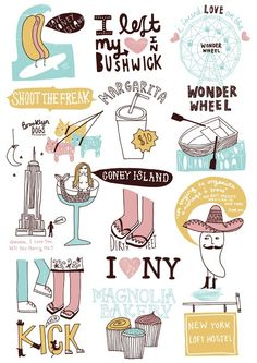 New York #cute #funny #colorful #illustrations