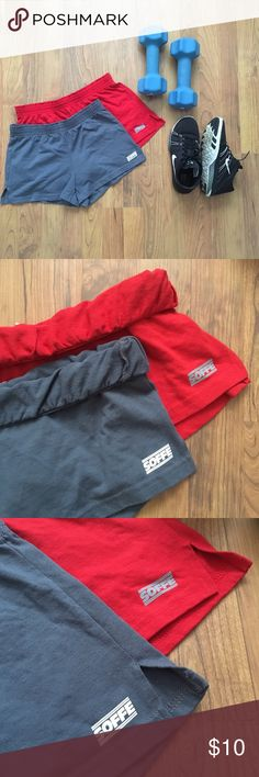 Soffe Short Roll-Up Shorties Bundle This is for two workout Soffe shorts in EUC. The red shorts are a size SM and the grey shorts are size XS. Soffe Shorts