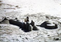 """A """"moon base"""" sand castle."""