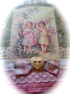 Whimsical Vintage charm tea towel for Shabby Chic kitchen. by Decorative Towels - Created by Cath., via Flickr