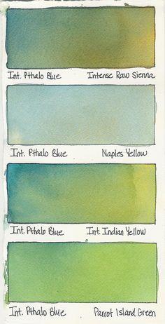 https://flic.kr/p/8GienD   Intense Pthalo Blue + a Color   Watercolor Mixes  Intense Pthalo Blue plus: Intense Raw Sienna (Terry Madden paint) Naples Yellow (T.M.) Intense Indian Yellow (T.M.) Parrot Island Grenn (Yellow-Green) (T.M.)