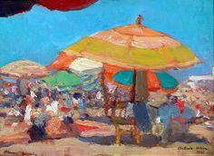 """Playa Grande"" Autor: Antonio Alice Playa Grande (1941) - óleo tabla - #mardelplata #mdq #arte #art #painting"