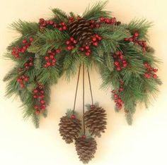 Winter Pine Swag Wreath by Ghirlande on EtsySwag with pineconesOhhh My Holiday Season Loooving Heart ♥️THIS is just Perfect for over our archway.Il piccolo Istrione - Welcome, Friends !Christmas decorations with pine cones. Christmas Swags, Noel Christmas, Holiday Wreaths, Rustic Christmas, Winter Christmas, Christmas Ornaments, Christmas Pine Cones, Primitive Christmas, Christmas Projects