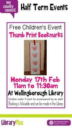 Make your own thumb print bookmark activity at Wellingborough Library Monday 17th February