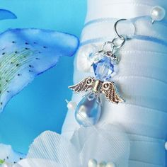 Something Blue Bridal Bouquet Charm Swarovski Crystal and Pearl Angel