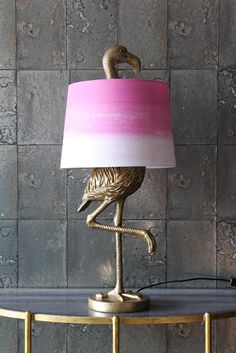Antique Gold Flamingo Table Lamp with Pink & White Shade from Rockett St George