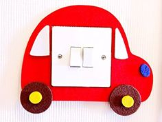 Toy Car Light Switch Wall Sticker, Premium Quality Thick Felt Material, Vivid Bright Colours! Unique On Amazon! Must Have For All Car Loving Kids! Children Boys Girls Bedroom Nursery Room Decor! Free Delivery In 2 to 3 Working Days! (Red)
