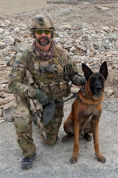SFC, Team Sergeant Corey F. Terry with Steffey a Multi-purpose canine (MPC) that can sniff out bombs! Love our Troops and K9's!
