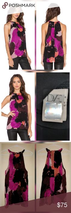"""Diane von Furstenberg Pania Halter Top Blouse Silk New with tags. Perfect condition. No trades.  Lined Button closure """"Dancing explosion"""" color   Approximate measurements Chest flat across 19"""" Length 25"""" Diane von Furstenberg Tops"""
