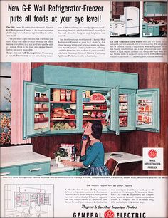 1956 wall refrigerator-American vintage home