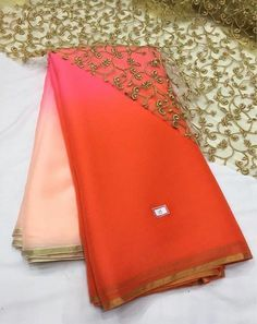 coral to omber pink saree with pitta work border..gold cut work unstitched blouse fabric. for more detail visit www.facebook.com/houseof2