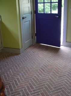 Entryways and hallways - Inglenook Brick Tiles - thin brick flooring, brick pavers, ceramic brick tiles, brick floors. Brick Tile Floor, Brick Pavers, Ceramic Floor Tiles, Brick Flooring, Porcelain Tile, Hardwood Floors, Entryway Flooring, Thin Brick, Floor Decor