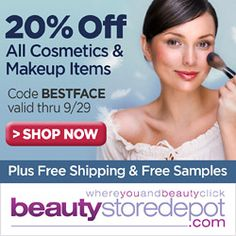 www.Beautystoredepot.com is putting their best face forward for fall! Code BESTFACE takes 20% OFF all cosmetic & makeup items, 9/23 thru 9/29. Free Shipping & Free Samples hand-picked with every order, too!